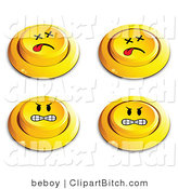 Clip Vector Art of a Set of Four Yellow Push Buttons with Dead and Mad Faces by Beboy