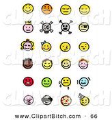 Clip Vector Art of a Set of Many of Happy, Mad, Depressed, Royal, Skull, Pirate, Children, Crying, Sick and Diverse Emoticons by NL Shop