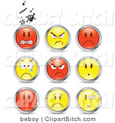 Clip Vector Art of a Set of Nine Mad, Angry, Bully, Crying and Bandaged Red and Yellow Emoticon Faces Circled in Chrome by Beboy