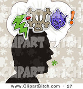 Clip Vector Art of a Silhouetted Black Head with a Bolt, Skull and Scribble in a Word Balloon by NL Shop