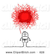 Clip Vector Art of a Stick Figure Person Business Man with a Red Angry Scribble Thought Balloon by NL Shop