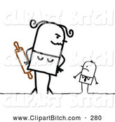 Clip Vector Art of a Stick Woman with a Rolling Pin, Looming over a Little Man by NL Shop