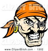 Clip Vector Art of a Tough Pirate Face with an Eye Patch and Orange Bandana by Vector Tradition SM