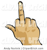 Clip Vector Art of a White Hand Flipping the Bird by Andy Nortnik