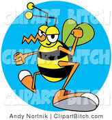 Clip Vector Art of a Yellow and Black Grumpy Wasp with Clenched Fists by Andy Nortnik