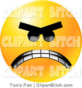 Clip Vector Art of a Yellow Emoticon Face Mad with Anger, Gritting His Teeth in Anger by Tonis Pan