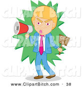 Clip Vector Art of an Angry Businessman Shouting Get out Through a Megaphone by Mayawizard101
