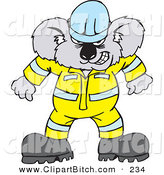Clip Vector Art of an Angry Koala Construction Worker in UniformAngry Koala Construction Worker in Uniform by Dennis Holmes Designs