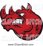 Clip Vector Art of an Angry Red Rhino Face by Vector Tradition SM