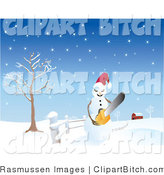 Clip Vector Art of an Angry Snowman Wearing a Santa Hat and Holding a Chainsaw, on a Snow Covered Landscape near a Barn by Rasmussen Images