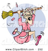 Clip Vector Art of an Angry White Granny in a Robe, Dropping Curlers While Chasing Someone with a BroomAngry White Granny in a Robe, Dropping Curlers While Chasing Someone with a Broom by Andy Nortnik