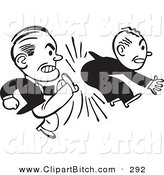 Clip Vector Art of an Old Fashioned Black and White Businessman Kicking Another in the Butt by BestVector