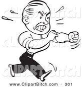 Clip Vector Art of an Old Fashioned Black and White Businessman Rolling up His Sleeves to Fight by BestVector