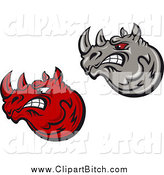 Clip Vector Art of Mad Red and Gray Rhino Heads by Vector Tradition SM