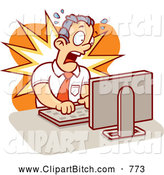 Clip Vector Cartoon Art of a Alarmed Mad Businessman Working on a Computer by Cory Thoman