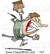 Clip Vector Cartoon Art of a Angry Aggressive Cartoon Businessman Running by Toonaday