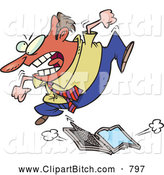 Clip Vector Cartoon Art of a Angry Frustrated Cartoon Businessman Trampling a Laptop Computer by Toonaday