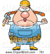 Clip Vector Cartoon Art of a Angry Plump Female Builder Holding up a Fist and Hammer by Cory Thoman