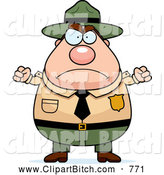Clip Vector Cartoon Art of a Angry Plump Male Forest Ranger Waving His Fists by Cory Thoman