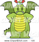 Clip Vector Cartoon Art of a Big Green Frowning Dragon Standing with His Hands on His Hips by Cory Thoman