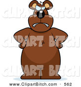 Clip Vector Cartoon Art of a Big Grumpy Bear Standing with His Hands on His Hips by Cory Thoman
