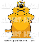 Clip Vector Cartoon Art of a Big Grumpy Orange Kitty Cat Facing Front with His Hands on His Hips by Cory Thoman