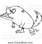 Clip Vector Cartoon Art of a Black and White Angry Honey Badger by Toonaday