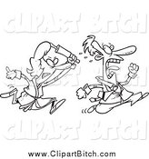Clip Vector Cartoon Art of a Black and White Angry Woman Chasing Her Husband with a Rolling Pin by Toonaday