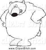 Clip Vector Cartoon Art of a Black and White Bear with His Hands on His Hips by Djart