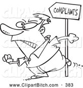 Clip Vector Cartoon Art of a Black and White Customer Going to Complain by Toonaday