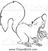 Clip Vector Cartoon Art of a Black and White Frustrated Screaming Squirrel by Toonaday