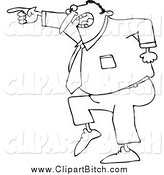 Clip Vector Cartoon Art of a Black and White Mad Businessman Pointing by Djart