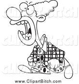 Clip Vector Cartoon Art of a Black and White Mad Clown Yelling by Toonaday