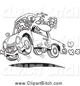 Clip Vector Cartoon Art of a Black and White Male Driver with Road Rage by Toonaday
