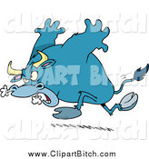 Clip Vector Cartoon Art of a Blue Raging Bull by Toonaday