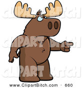 Clip Vector Cartoon Art of a Brown Angry Moose Pointing to the Right by Cory Thoman