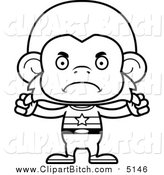 Clip Vector Cartoon Art of a Bw Mad Monkey Super Hero by Cory Thoman
