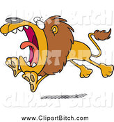 Clip Vector Cartoon Art of a Cartoon Attacking Lion Running by Toonaday
