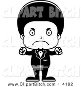 Clip Vector Cartoon Art of a Cartoon Mad Black Boy Groom by Cory Thoman