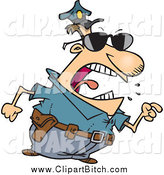 Clip Vector Cartoon Art of a Cartoon Mad White Police Man Pointing His Finger by Toonaday