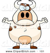 Clip Vector Cartoon Art of a Chubby Angry Bull Frowning by Cory Thoman