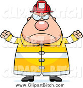 May 6th, 2014: Clip Vector Cartoon Art of a Chubby Mad Fireman by Cory Thoman