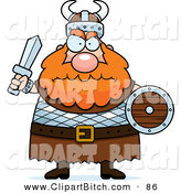 Clip Vector Cartoon Art of a Chubby Mad Viking Man with Red Hair Holding a Sword and Shield by Cory Thoman