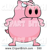 Clip Vector Cartoon Art of a Chubby Pink Pig with an Angry Expression Frowning by Cory Thoman