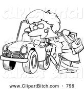 Clip Vector Cartoon Art of a Coloring Page of a Woman Kicking a Tire on a Ca by Toonaday