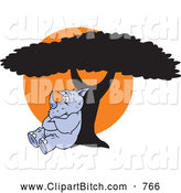 Clip Vector Cartoon Art of a Cute and Pouting Rhino Leaning Against a Tree Against an Orange Sun by Johnny Sajem