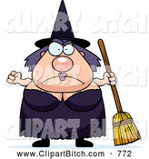 Clip Vector Cartoon Art of a Cute Mad Plump Witch by Cory Thoman