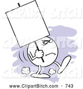 Clip Vector Cartoon Art of a Cute Moodie Character Carrying a Blank Sign with a Scowl by Johnny Sajem