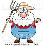 Clip Vector Cartoon Art of a Cute Plump Farmer Waving a Pitchfork in Anger by Cory Thoman