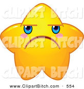 Clip Vector Cartoon Art of a Cute Yellow Star Character Frowning on White by Pushkin